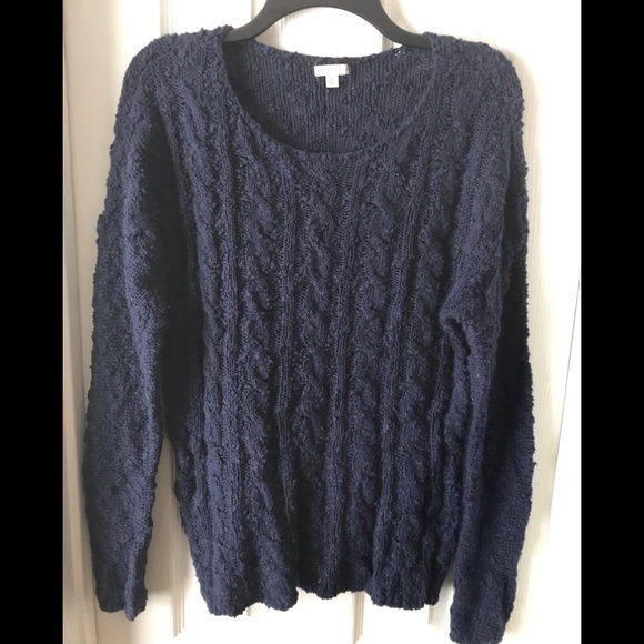 BLUE LOOSE KNIT PULLOVER SWEATER SZ SMALL OVERSIZE